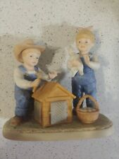 "Homco Denim Days 1985 ""The Bunny Hutch"" Figurine #1514 Porcelain Collectible"