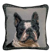 "Boston Terrier Dog Needlepoint Pillow 10""x10"" Nwt"