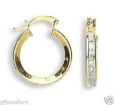 9CT HALLMARKED YELLOW GOLD CHANNEL SET PRINCESS CUT 17MM HUGGIE HOOP EARRINGS