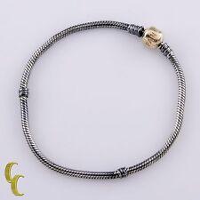 "Pandora Sterling Silver & 14k Yellow Gold Snake Chain Bracelet 8 3/8"""