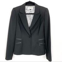Tahari ASL Black Tailored Women's Blazer Single Button Zip Pockets Lined Size 6