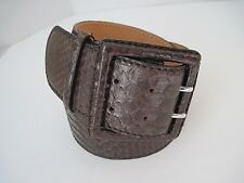 REPTILE'S HOUSE Womens Belt Italian Genuine Python Wide Brown Size 44/80