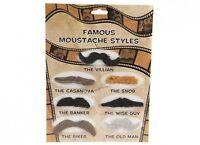 Set 7 Moustache Fake Handlebar Wise Guy Self Adhesive Fancy Dress Snob Casanova