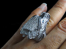 MENS NEW BIKER STYLE WHITE CZ ON WHITE GOLD FINISH RING SIZE 10 FREE SHIPPING