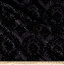 "Flocked Damask Taffeta 100% Polyester Fabric by the Yard, 58""/60"", All Colors"