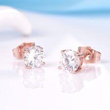 Girls Fashion Rose Gold Filled White Topaz Crystal  Stud Earrings For Women