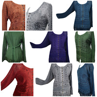 Ladies Full Sleeve Blouse Boho Top Tunic Embroidered Size 14,16,18,20,22,24,26