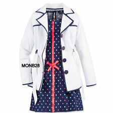 Tommy Hilfiger Girls Trench Coat White Navy Belted Lined Size M/8-10/