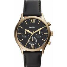Fossil Herrenuhr Armbanduhr BQ2410 Chronograph schwarz Lederarmband