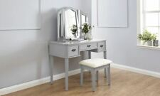 BELLA DRESSING TABLE SET MAKEUP VANITY DESK W/ STOOL & 3 MIRRORS GREY