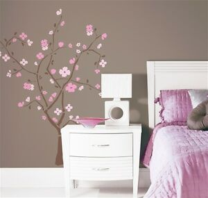 PINK CHERRY BLOSSOM TREE Wall Decals Peel and Stick Removable Reusable Stickers