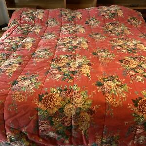 Ralph Lauren AYLESBURY Full Queen Vintage Red Floral Comforter Heavy Green