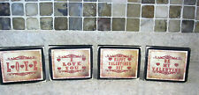 4 Valentines Day Sayings Country Primitive Distressed Wooden Sign Shelf Sitters