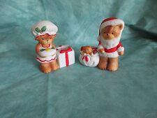 LUCY & ME BEARs ~ Enesco ~ 2 Cute Christmas bear candle holder figurines