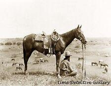 Cowboy Sitting Next to His Horse - Texas - 1910 - Historic Photo Print