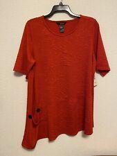 Ali Miles womens stretch tunic blouse shirt orange red sz 1X 2X NEW $74 #L44