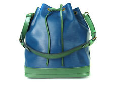 LOUIS VUITTON Noe Epi Leather Blue Green Drawstring Shoulder Bag Purse