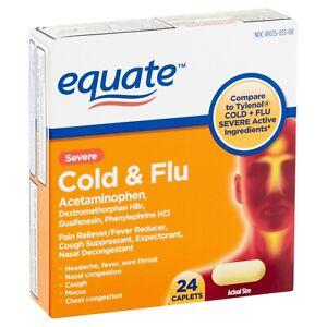 Equate Severe Cold & Flu Caplets, 24 count  Cold Cough Flu.