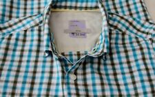"""Fat Face Blue & Brown Check Short Sleeve Shirt Size M - 38"""" inch chest"""