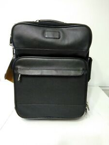 Protocol Black Leather Business Upright Suitcase NEW