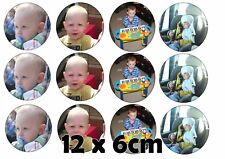12 x Photo personalised Muffin (6cm) Cake Toppers ICING (up to 4 pics)