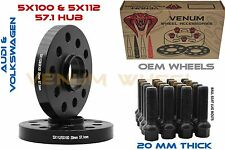 Pair of Audi 57.1 5x100 5x112 20MM Hub Centric Wheel Spacers + 20 Extended Bolts