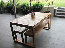 Australian Made Hardwood Timber Table & Bench Setting, Cover and Cushion Package