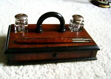 ANTIQUE VICTORIAN DESKTOP EBONIZED WRITING BOX INKWELL STAND WITH INKWELLS