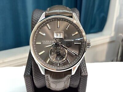 TAG HEUER Ref. WAR5012 CARRERA GRAND DATE GMT 41mm Automatic w/ Slate Dial! NICE