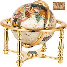 "14"" Amber Pearl Swirl Ocean 4- leg Gold table stand Gem Gemstone World MAP globe"