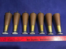 "7 Vintage Mid Century Modern Tapered 5.5"" Hard Brown Plastic Furniture Legs"