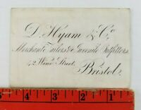 Vintage 1900's Merchant Tailors Outfitters Bristol England Business Card