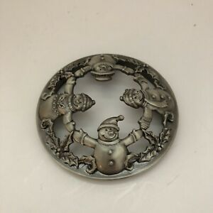 Yankee Candle Lid Topper Silver Snowmen Snowman Holly
