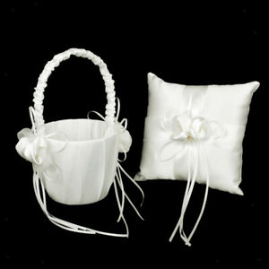 2pcs/Sets Flower Girl Basket and Ring Pillow Wedding Decor - White Satin with