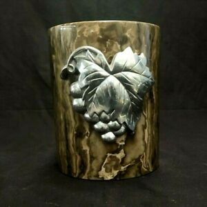 """Mikasa Toffy Marble Wine Chiller w/Pewter Grapes & Leaves Cooler 6"""" T x 4.75"""" W"""