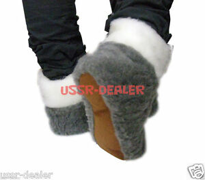 AUTHENTIC GREY WOMEN'S SHEEPSKIN SHEEP WOOL SLIPPERS WHITE BOOTS