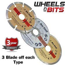 3packs of 3pc DIAMOND & CUT OFF BLADE SET SEGMENTED STONE RIM SAW KIT 9 DISC's