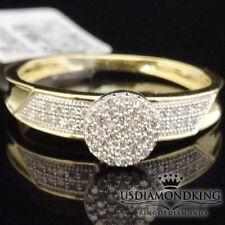Women's Ladies 10K Yellow Gold .15ctw Diamond Cluster Engagement Wedding Ring S7
