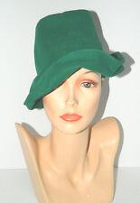 1930s 1940s Vintage Robin Hood Green Felt Velour Slouch Tilt Hat Asymmetrical OS