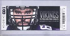 Minnesota Vikings Philadelphia Eagles 12/15/13 Full Unused Ticket...John Sulivan