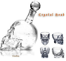Crystal Skull Head Decanter Wine Glass Bottle 1000ML+Vodka Shot Glasses 75MLx4