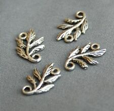 Antique Silver Connector leaves, leaf - pack of 10