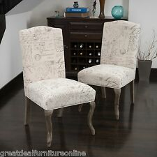 Set of 2 Elegant French Beige Script Fabric Dining Chairs