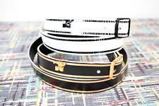 Courreges ~ Vtg Logo Belt Lot / 2 ~ Black & Gold - White w/Black ~ Space Age Mod