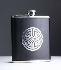 18oz Luxury Stainless Steel Celtic 08 Design Leather Finish Hip Flask