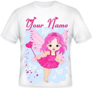 GIRLS TOP Sublimation Personalised Pink FAIRY T Shirt Great Gift Idea
