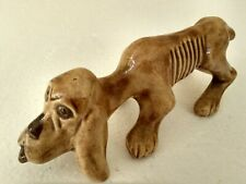 Vintage Ceramic Dog FigurineVery Hungry Basset Hound Statue Signed Cas 1977