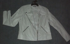 Katies: Size: 12. Modern Chic Beige, PU Leather-Look ZipFront Fully-Lined Jacket