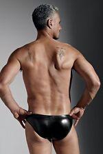 Men's Extreme Bondage Brief w/Easy Access Zipper Rubberized Nylon/Spandex Black