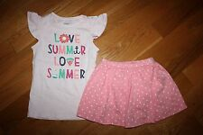 NWT Gymboree Hop 'n Roll 4T Knit Set Love Summer Shirt Top Pink Dot Skirt Skort
